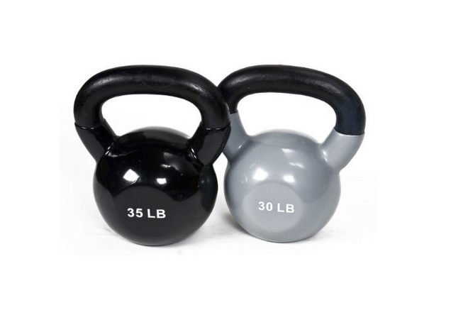 J fit Vinyl Kettlebell Set - 30-35 lbs